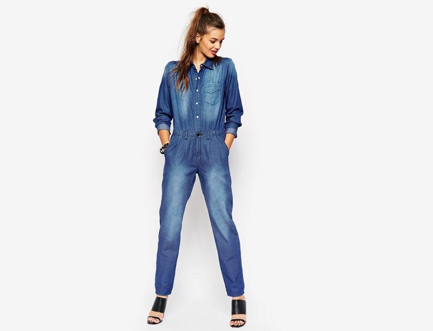 Riflový overal — dámský džínový overal s fleky, na knoflíky, dlouhý rukáv — modrý, denim, jeans jumpsuit
