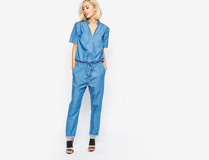 Dámský overal — riflový overal, džínový overal, tkanička v pase, krátký rukáv — světle modrý, denim, jeans jumpsuit