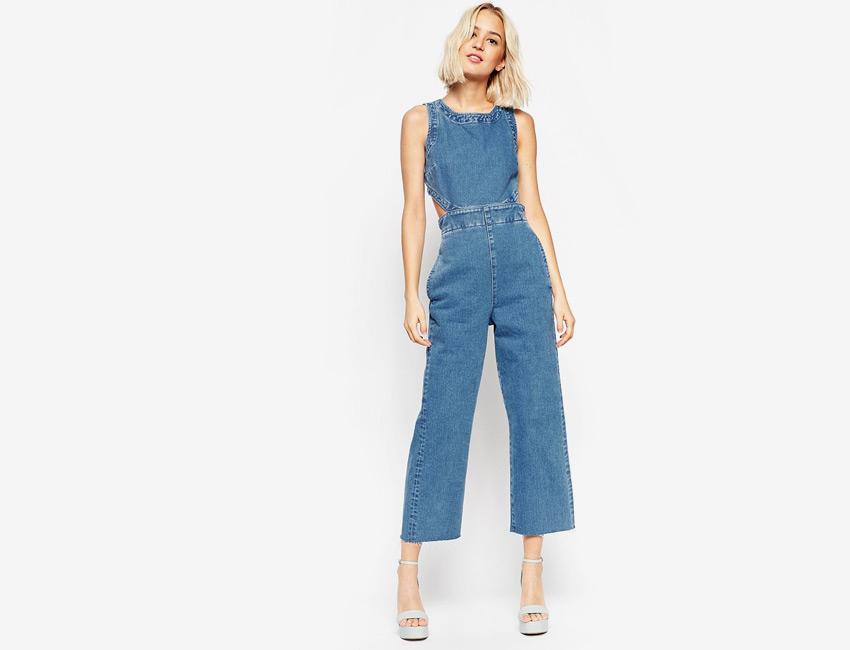 Overal dámský — džínový overal, riflový, bez rukávů — světle modrý, denim, jeans jumpsuit