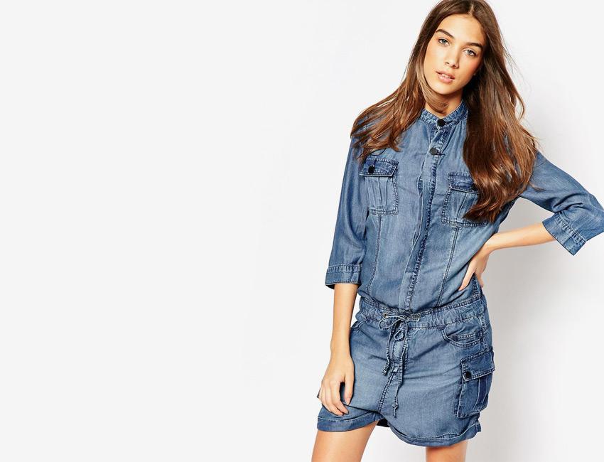 Overal dámský — džínový overal, riflový, krátké nohavice, šortky, rukávy pod lokty — světle modrý, denim, jeans jumpsuit