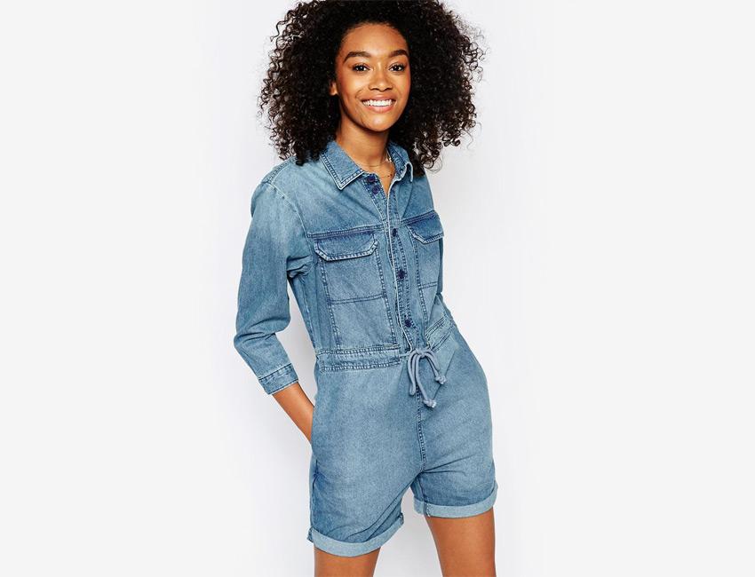 Dámský overal — riflový (džínový) overal, krátké nohavice, šortky, rukávy pod lokty — světle modrý, denim, jeans jumpsuit
