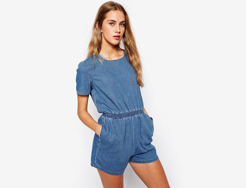 Džínový overal — dámský, krátké rukávy, krátké nohavice, šortky — světle modrý, denim, jeans jumpsuit