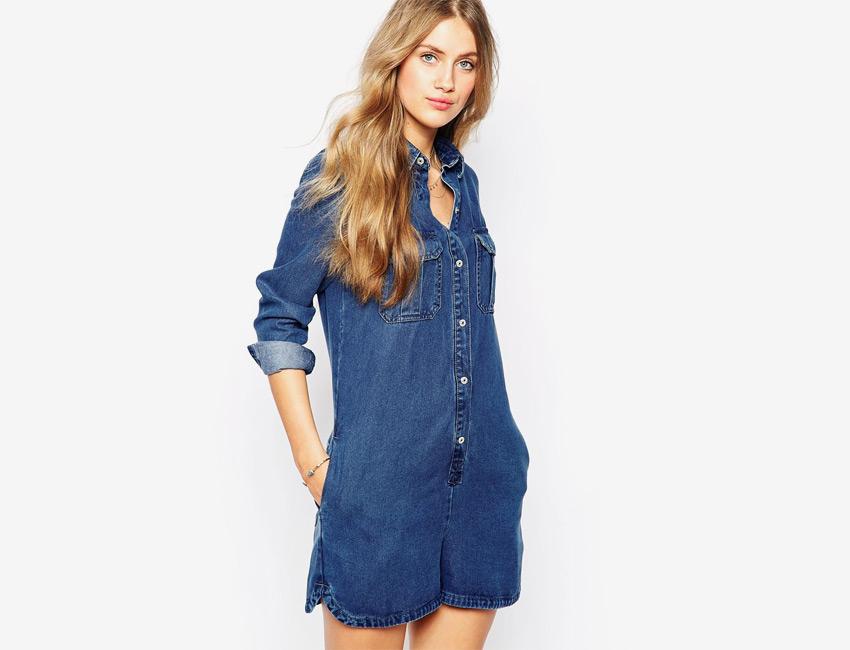 Riflový overal — džínový, dámský, krátké nohavice, delší rukávy — modrý, denim, jeans jumpsuit
