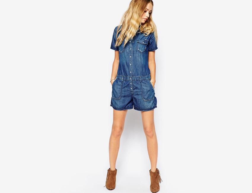 Overal dámský — džínový, dámský, krátké nohavice, krátké rukávy — modrý, denim, jeans jumpsuit