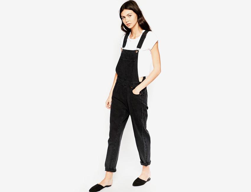 Lacláče dámské — džínové, overal riflový, dlouhé nohavice — černý, denim, jeans jumpsuit