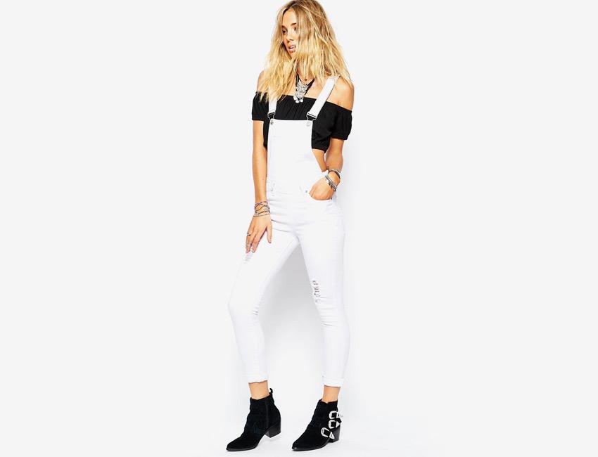 Dámské lacláče — riflové, bílé, overal džínový, dlouhé nohavice — denim, jeans jumpsuit