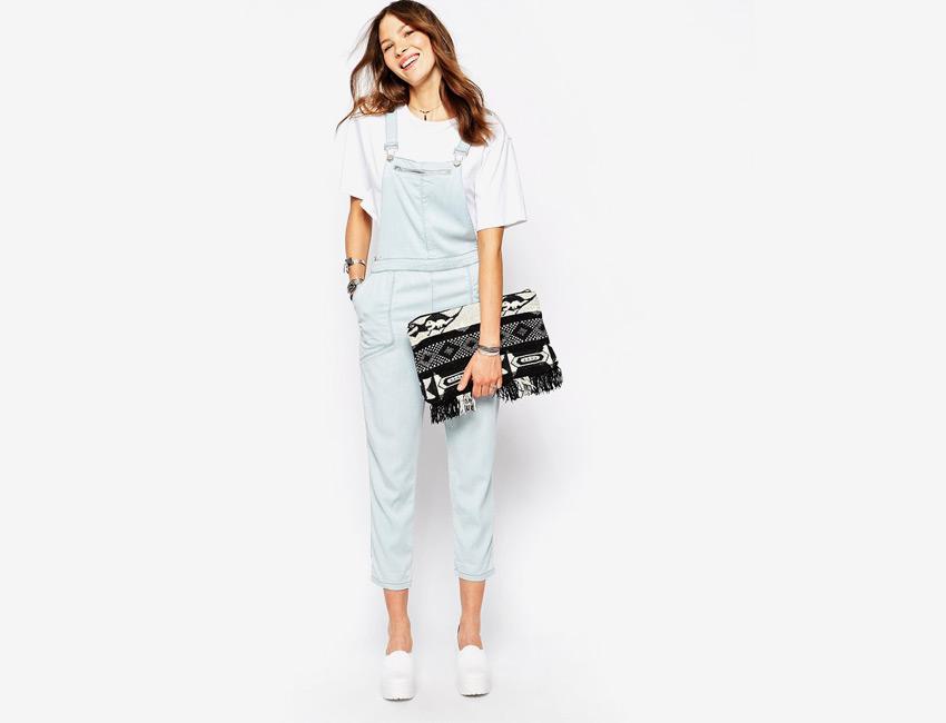 Overal, lacláče — dámské, dlouhé nohavice, riflové, džínové — bledě modrý, denim, jeans jumpsuit