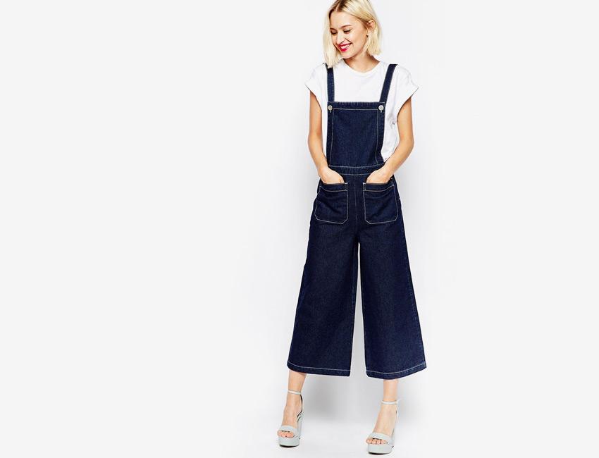 Lacláče dámské riflové — overal, džínový, tříčtvrteční nohavice — tmavě modré, denim, jeans jumpsuit