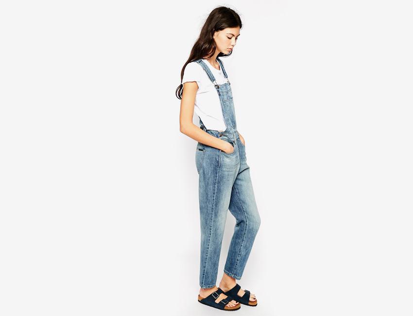 Dámské riflové (džínové) lacláče — dlouhé nohavice — světle modrý, denim, jeans jumpsuit