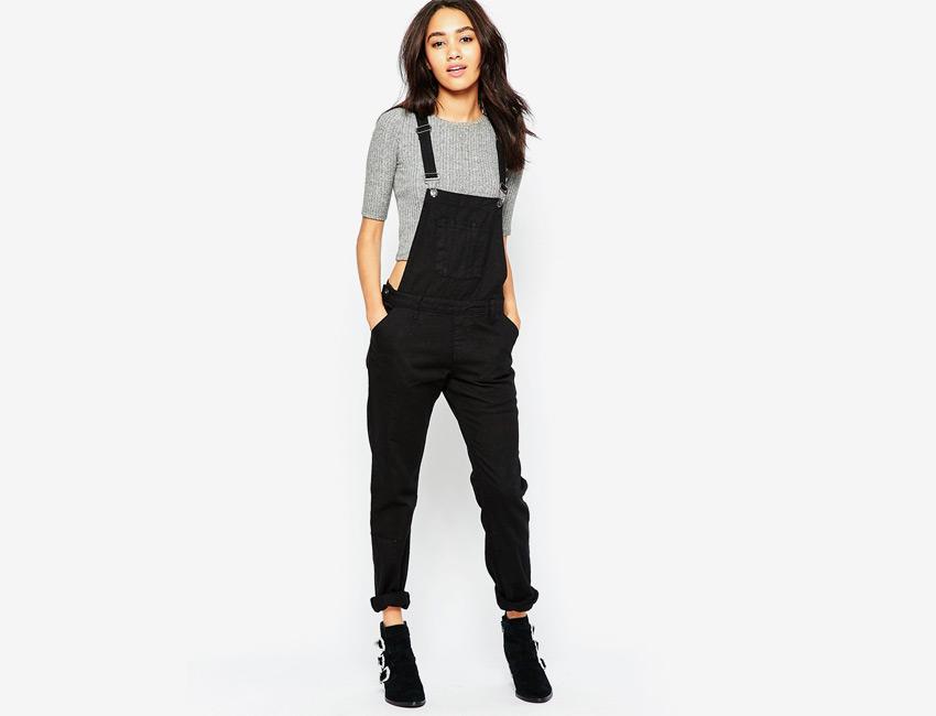 Lacláče dámské riflové — overal, džínový, dlouhé — černé, denim, jeans jumpsuit
