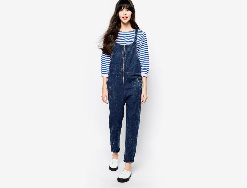 Overal, lacláče — dámské, dlouhé nohavice, riflové, džínové — modrý, denim, jeans jumpsuit