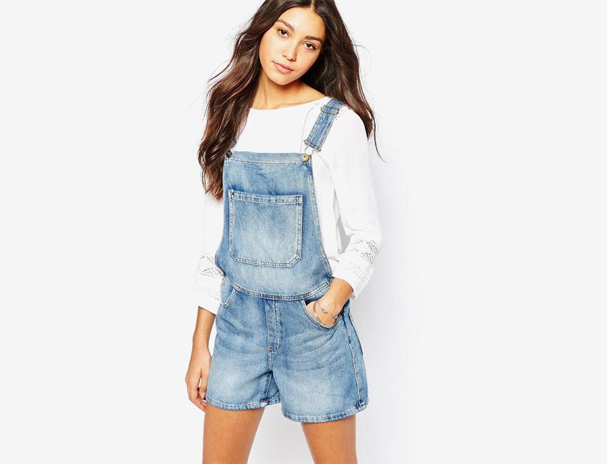 Lacláče dámské riflové (džínové) — krátké nohavice, šortky — světle modrý, denim, jeans jumpsuit
