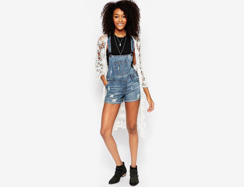 Dámské džínové (riflové) — krátké nohavice, šortky — modrý, denim, jeans jumpsuit
