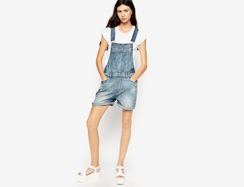 Džínové lacláče dámské — riflové, krátké nohavice, šortky — světle modrý, denim, jeans jumpsuit