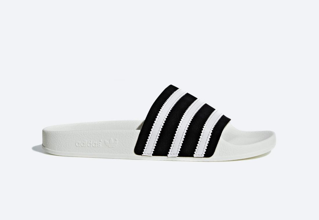 adidas Originals Adilette — pantofle — pánské, dámské — černo-bílé — nazouváky — slides