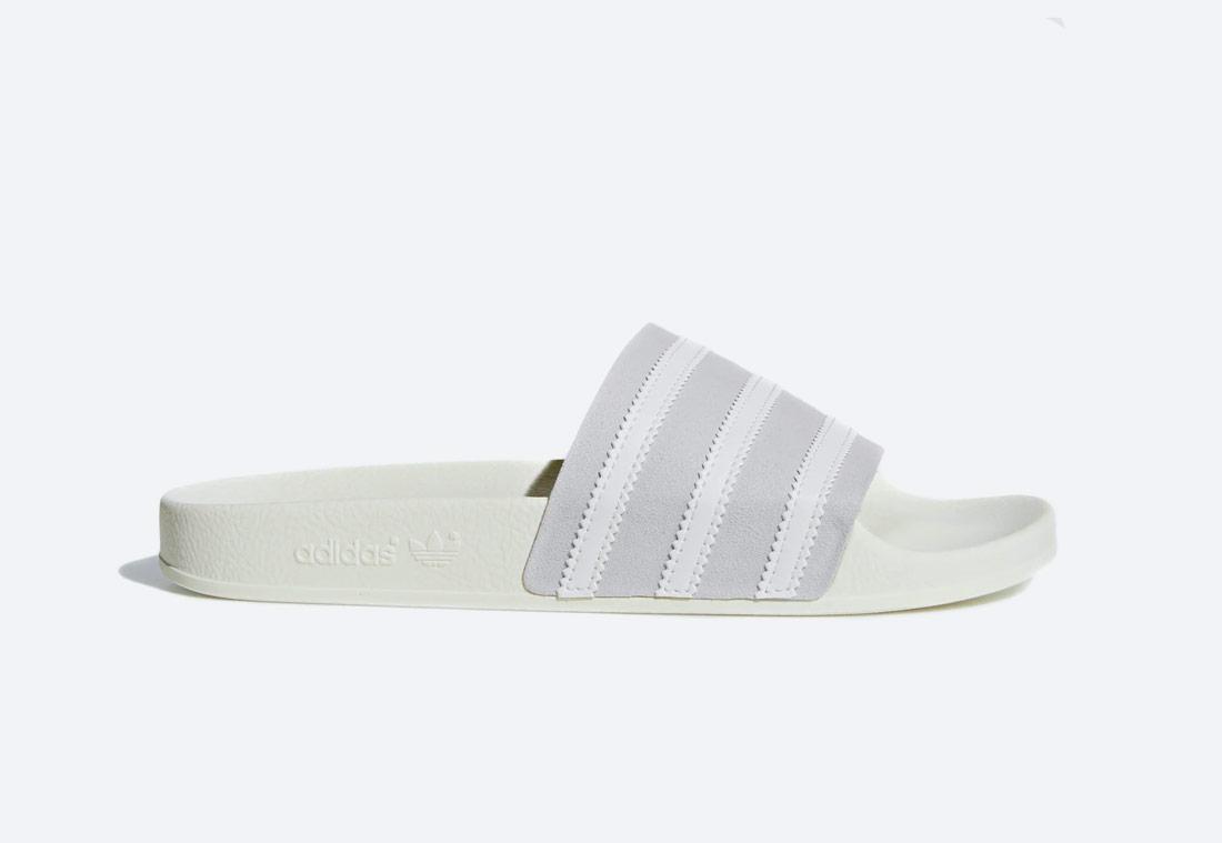adidas Originals Adilette — pantofle — pánské, dámské — šedo-bílé — nazouváky — slides
