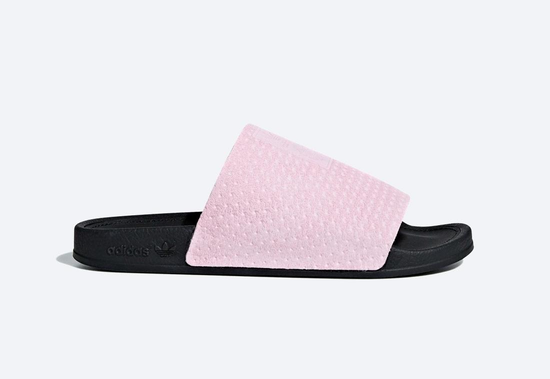 adidas Originals Adilette Luxe — pantofle — dámské — černo-růžové — nazouváky — slides