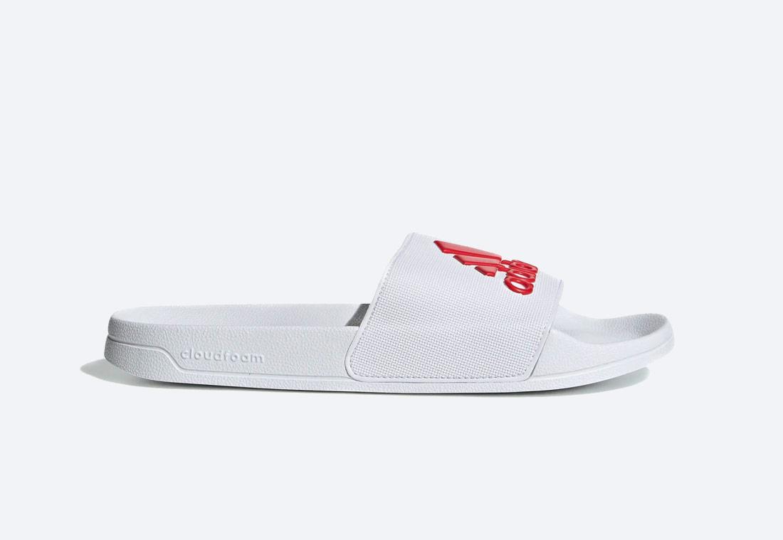 adidas Originals Adilette Shower Essentials — pantofle — pánské, dámské — bílé — nazouváky — slides