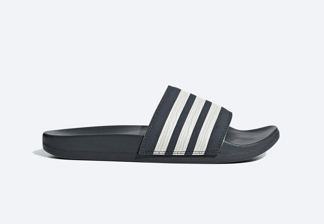 adidas Originals Adilette Comfort Essentials — pantofle — dámské — tmavě šedé — nazouváky — slides