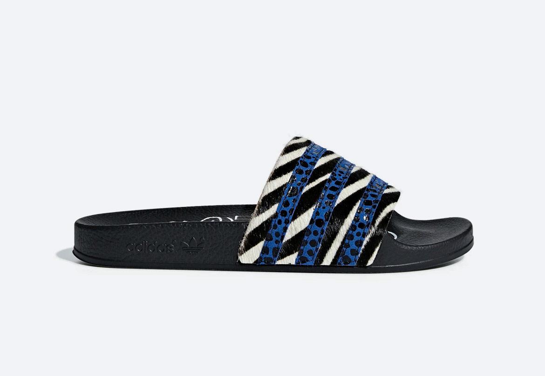 adidas Originals Adilette — pantofle — dámské — letní — zebrované, černé, modré — slides